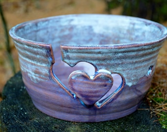 Yarn Bowl Large Hand Thrown With Hearts