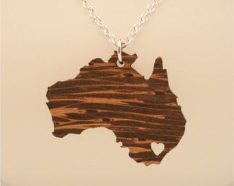 Wooden Australia Necklace, Custom Made Aussie Jewelry, Long Distance Relationship Going Away Gift, LDR Necklace, Personalized Jewelry