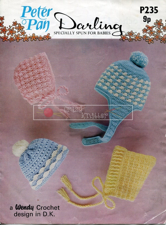 Baby Hats DK 9-24 months Peter Pan P235 Crochet Pattern PDF instant download