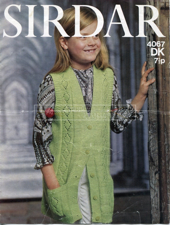 Girl's Sleeveless Tunic Coat DK 26-30in. Sirdar 4067 Knitting Pattern PDF instant download