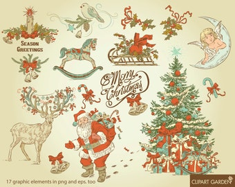 Vintage style CHRISTMAS digital clip art elements for Personal and Commercial use. (paper crafts, card making, scrapbooking)