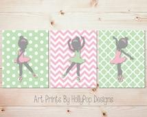 Ballerina Nursery Art Prints Pink Green Baby Girl Nursery Art Toddler Girl Bedroom Wall Art Ballerina Decor Girls Room Art Dancer Decor 1011