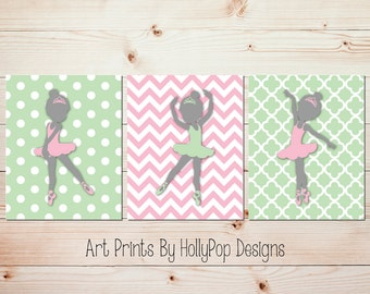Kids room decor Girls room wall art Ballerina nursery art Baby girl prints Girls room decor Pink green nursery art Baby girl wall art #1011