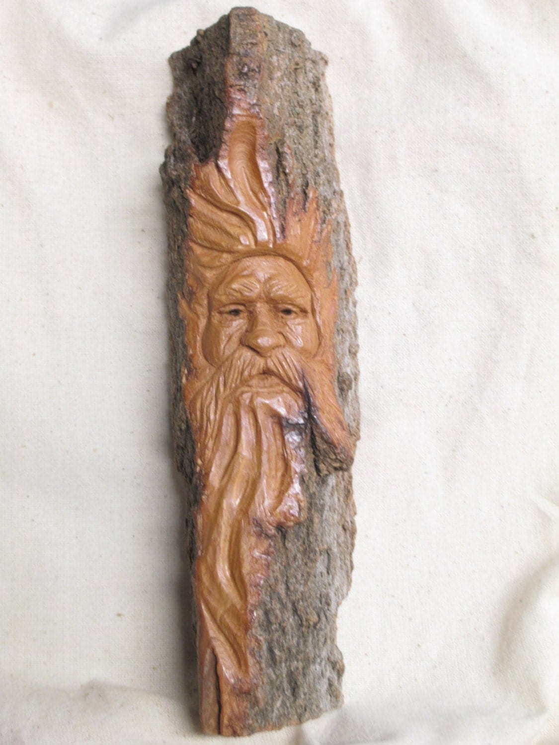 Cottonwood bark wood spirit ooak hand carved in missouri