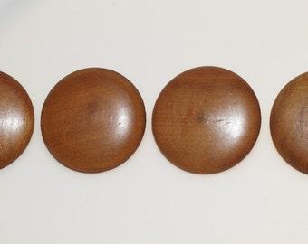 """Four Large Vintage 1.5"""" Wood Coat Button"""