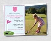 Preppy Girl Golf Photo Birthday Invitation - Golf Themed Party - Girl Birthday - Digital Design or Printed Invitations - FREE SHIPPING