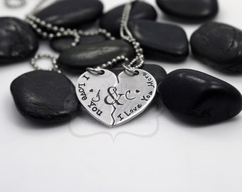 """Hand-Stamped Personalized """"I Love You / I Love You More"""" Broken Heart Necklace"""