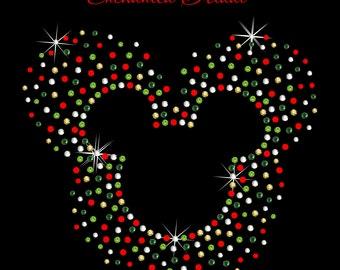 Disney Inspired Christmas Scatter Mickey Iron On Rhinestone Transfer DIY Bling