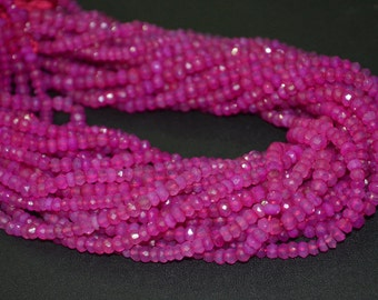 Brand New Hot Pink Chalcedony Rondelle Faceted,13 inch Strand,3 to 3.5 mm