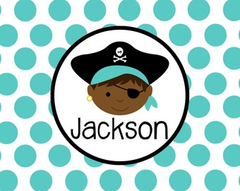 Personalized Placemat - pirate boy laminated 12x18""