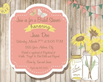 Shabby/Country Chic Bridle Shower Invitation or Any occasion