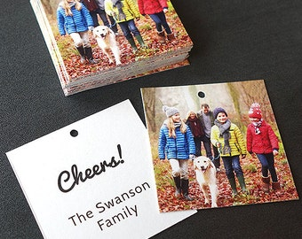 Gift Tags for Christmas Presents - Add a family photo and message (Square Tags)