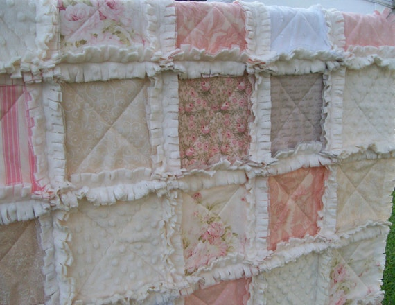 Crib Rag Quilt Miss Shabby Pink Taupe Beige Made To By
