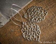 Silver earrings, filagree earrings, boho jewelry, moroccan earrings, bohemian earrings, yoga jewelry, zen earrings, bridesmaid earrings