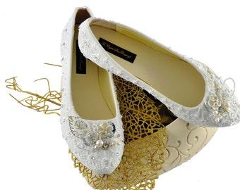 Swarovski crystal Flat Vintage French ivory White Lace & crystal pearl bridal Wedding Ballerina shoe pump