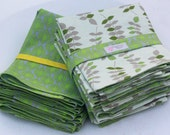 Placemat and Napkin Set  - Natural Placemat, Green Placemat - Cotton/Linen placemat , leaf table decor, Reversible Placemat, Mother's Day