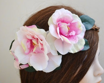 wedding artificial flower hair ring bridal pink rose