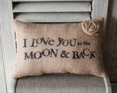 I Love You to the Moon and Back Decorative Pillow Decor Pillow Simple Pillow
