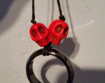 RED howlite skull and hematite necklace
