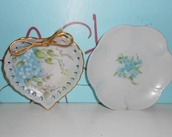 1940s miniature ring plates heart shaped plate and round blue floral vintage vanity ring plates