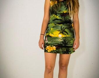 Vintage Tropical Print Mini Dress