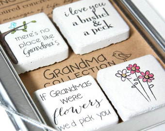 Grandma Gift. Rustic Refrigerator Magnets.1.25 x 1.25. Perfect for Mothers Day, Christmas, Birthday.Gift Tin with Ribbon.