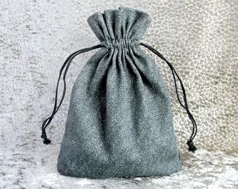 Sacchetto regalo grigio cotone naturale deposito sacchetto tessuto 17x13 cm