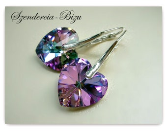 Silver earrings with Swarovski Elements Heart 14mm Crystal Vitrail Light