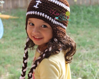 Football beanie with braids all sizes
