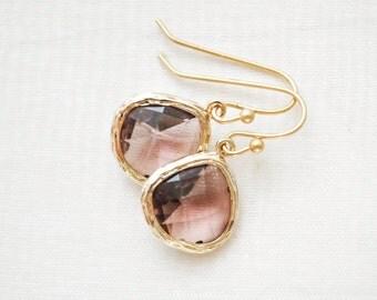 Bridesmaid Earrings, Plum Glass Earrings, Gold Earrings, Bridesmaid Jewelry