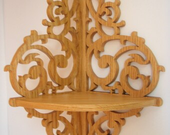 Scrolled Oak Corner Shelf