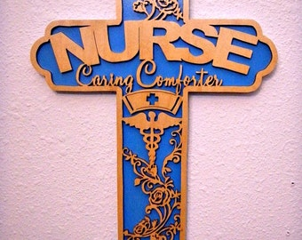 Handcrafted Scrolled Nurse Cross