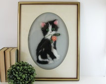 Vintage Kitten Portrait Art - Tuxedo Cat Decor - Oval Shadow Box Frame - Textile Art - Animal Wall Decor - Black and White Cat Wall Hanging