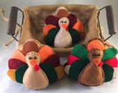 RESERVED FOR STELLA* Felt Turkey Basket Fillers/Tucks, Thanksgiving Decor, Thanksgiving Turkey Basket Fillers,Tabletop Turkeys,Shelf Decor