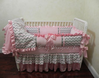 Baby Crib Bedding Set Angelica - Baby Girl Bedding, Pink and Gray Chevron, Pink Satin