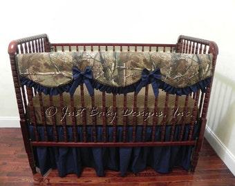 Camo Baby Bedding Set Gretchen - Baby Girl Bedding, Bumperless Crib Bedding, Camo Crib Bedding, Crib Rail Cover, Navy Baby Bedding
