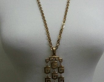 Trifari Greek Key Chandelier Necklace