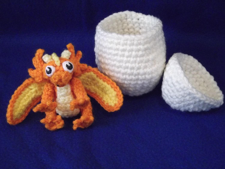 Amigurumi Dragon Egg : Crocheted Amigurumi Dragon Baby With Egg Stuffed by ...