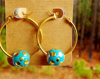 Gold Hoop Earrings with Turquoise and Gold Beads