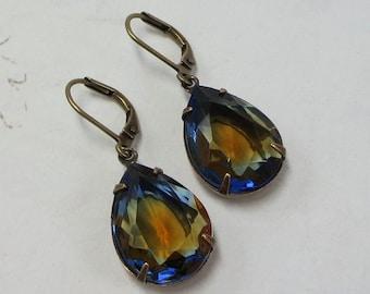 Sapphire Blue Topaz Glass Earrings Dangles Midnight Blue Navy Blue Rhinestone Shabby Chic Estate Old Hollywood Bridal Wedding Fall Autumn