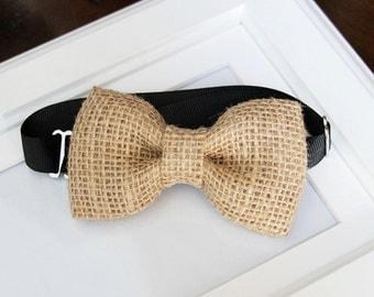 Burlap bow-tie - Mordern Vintage wedding - baby's bow tie - boy's bow tie - men's bow tie