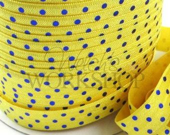 "Yellow & Royal Blue Polka Dots - 5 Yards Metallic Printed FOE - 5/8"" Fold Over Elastic - 5/8-M-053"
