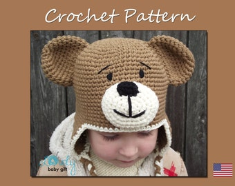 Earflap Teddy Bear Hat Crochet Pattern, Toddler Hat, Baby Winter Hat Pattern, CP-304