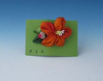 Accessories, Silk Flower Pin, Silk Flower Pins, Fabric Flower Pin, Orange