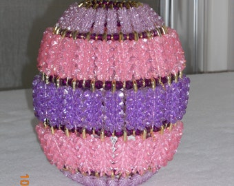 Lighted Easter Egg made with safety pins, beads ,wire.