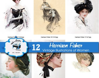 12 Vintage Illustrations of Women by Harrison Fisher - for Print and Craft Projects