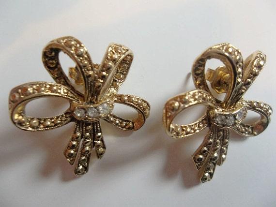 beautiful bow earrings vintage bff gift stud by