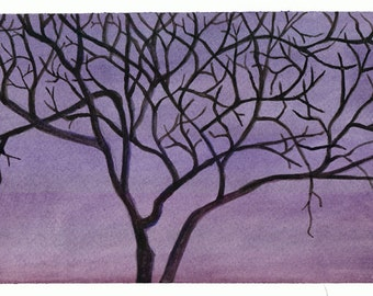 "5x7"" Tree at Dusk Silhouette Art Print"