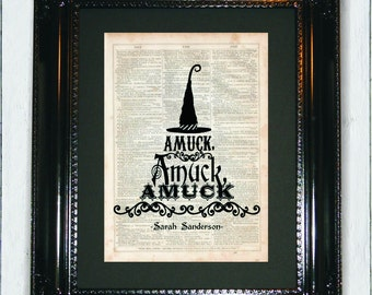 AMUCK! Hocus Pocus Quote, Dictionary Art Print, Vintage Dictionary, Silhouette,Halloween decor, Wall Decor, Wall Hanging, Art Prints, Cameo