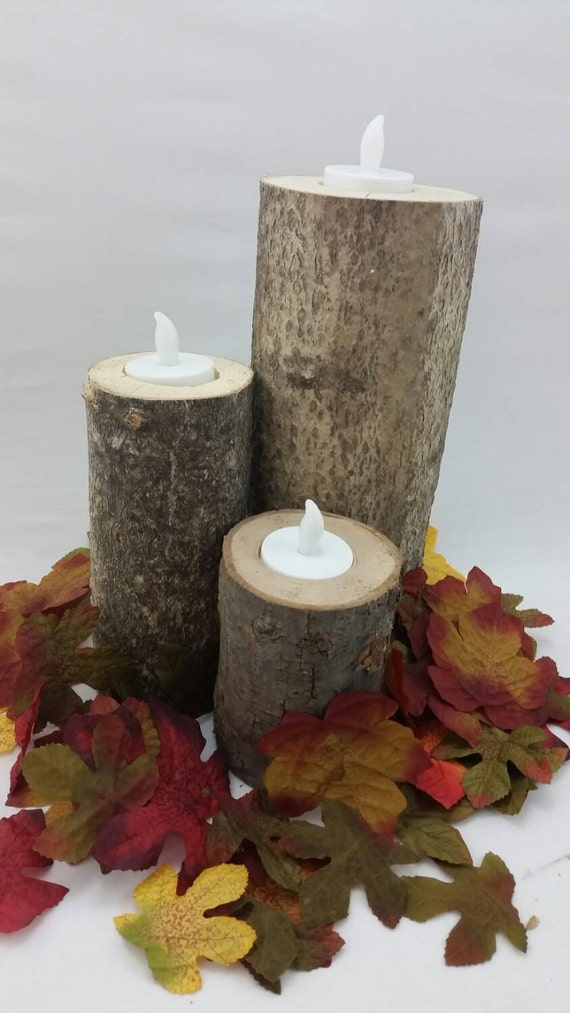 Tree branch candle holder wood by